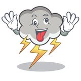 Crazy thunder cloud character cartoon Royalty Free Stock Photography