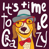 Crazy time hipster dog color poster sign. Stock Image