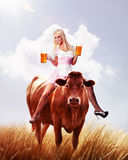 Crazy tiroler or oktoberfest woman Stock Photos