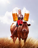 Crazy tiroler or oktoberfest woman Stock Images