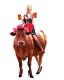 Crazy tiroler or oktoberfest woman Stock Image