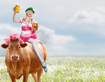 Crazy tiroler or oktoberfest woman Stock Photo