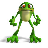 Crazy Toad. Cartoon Frog with funny Face contains Clipping Path royalty free illustration