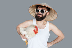 Crazy travel man going to holiday in sunglasses Royalty Free Stock Photography