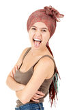 Crazy trendy girl with african braids Stock Photo