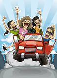 Crazy trip. Illustration of the four friends waving their arms leaning out of the car at full speed Stock Photo