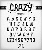 Crazy typeface. Stylized author's font. Curves, uneven, brutal and harsh alphabet design. Crazy typeface Royalty Free Stock Photo