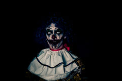Crazy Ugly Grunge Evil Clown In Town On Halloween Making People Shock And Scared Stock Image