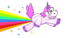 Crazy unicorn makes rainbow. Crazy cartoon unicorn making rainbow and flies on it Stock Photos
