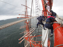 Crazy view aloft on old tallship or sailboat Royalty Free Stock Image