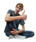 Crazy wacky man with thumbs up Royalty Free Stock Images