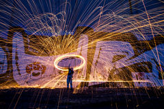 Crazy Ways. Steel wool spinning early one morning Royalty Free Stock Image