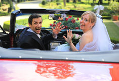 Crazy wedding couple Stock Photos