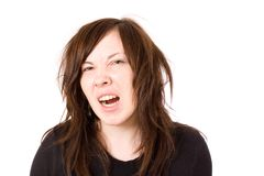 Crazy wild stressed young female, isolated Royalty Free Stock Photos