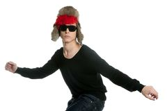 Crazy winter boy, snow hat, grunge modern look Royalty Free Stock Photo