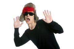 Crazy winter boy, snow hat, grunge modern look. Isolated on white Royalty Free Stock Image