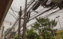 Crazy wiring in Bangkok royalty free stock photos