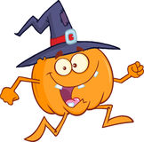 Crazy Witch Pumpkin Character Running Royalty Free Stock Image