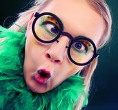 Crazy woman with creative visage close up stock photo