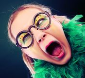 Crazy woman with creative visage close up royalty free stock image