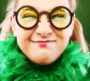 Crazy woman with creative visage close up stock images