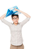 Crazy woman with folders on head isolated Royalty Free Stock Photos