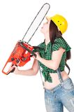 Crazy woman. With gasoline-powered chainsaw isolated on white background cutout royalty free stock image