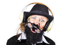 Crazy woman with headphones Royalty Free Stock Image
