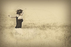 Crazy woman is jumping in the field, pencil drawing Royalty Free Stock Photos
