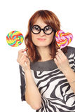 Crazy Woman With Lollipop Royalty Free Stock Photos
