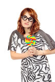 Crazy Woman With Lollipop Stock Photo