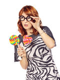 Crazy Woman With Lollipop Stock Photography