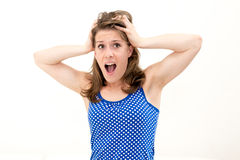 Crazy woman making a face Stock Images