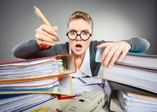 Crazy woman in office. Royalty Free Stock Photo