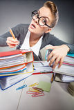 Crazy woman in office. Stock Photo