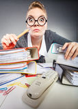 Crazy woman in office. stock photography