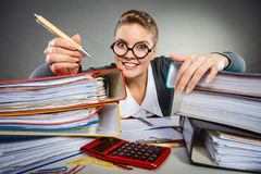 Crazy woman in office. royalty free stock photos