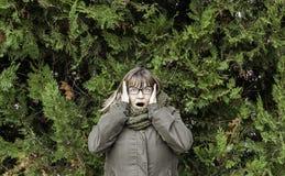 Crazy woman paranoid Stock Photography