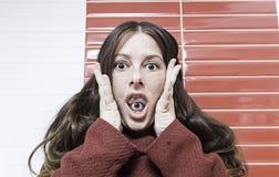 Crazy woman paranoid Royalty Free Stock Photos