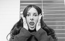 Crazy woman paranoid Royalty Free Stock Images
