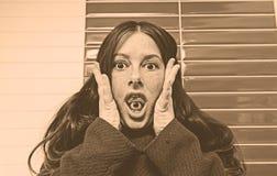 Crazy woman paranoid Stock Image
