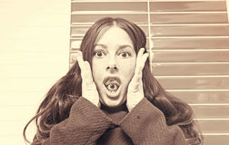 Crazy woman paranoid Stock Photos