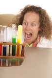 Crazy woman scientist with test tubes mouth open Royalty Free Stock Image