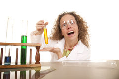 Crazy Woman Scientist With Test Tubes Show One Royalty Free Stock Images