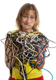 Crazy woman with tangle of cables. And wires in hands isolated on white Royalty Free Stock Photography