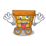 Crazy wooden trolley mascot cartoon. Vector illustration stock illustration