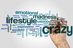Crazy word cloud concept on grey background Royalty Free Stock Photo