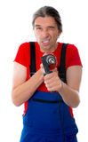 Crazy worker with drill Royalty Free Stock Photography