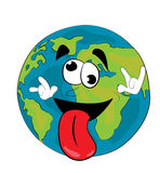 Crazy World globe cartoon Royalty Free Stock Image