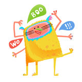 Crazy yellow talking monster children cartoon. Fun imaginary kids creature many hands saying woo boo. Vector illustration Royalty Free Stock Images